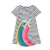 VIKITA Mädchen Sommer Streifen Kurzarm Baumwolle T-Shirt Kleid 1-8 Jahre
