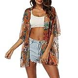 Sfit Womens Printing Lose Vertuschungen halben Hülsenschal Chiffon Strickjacke Blusen Casual Beach Outwear