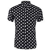 Bonboho Herren Hemden Große Größe Blumendrucken Polka Dots Kurzarm Männer Drucken Punkt Knopf Oben Shirt Hemd Oberhemd Knopfhemd Regular Fit