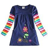 VIKITA Mädchen Blumen Langarm Baumwolle Kleid 2-8 Jahre